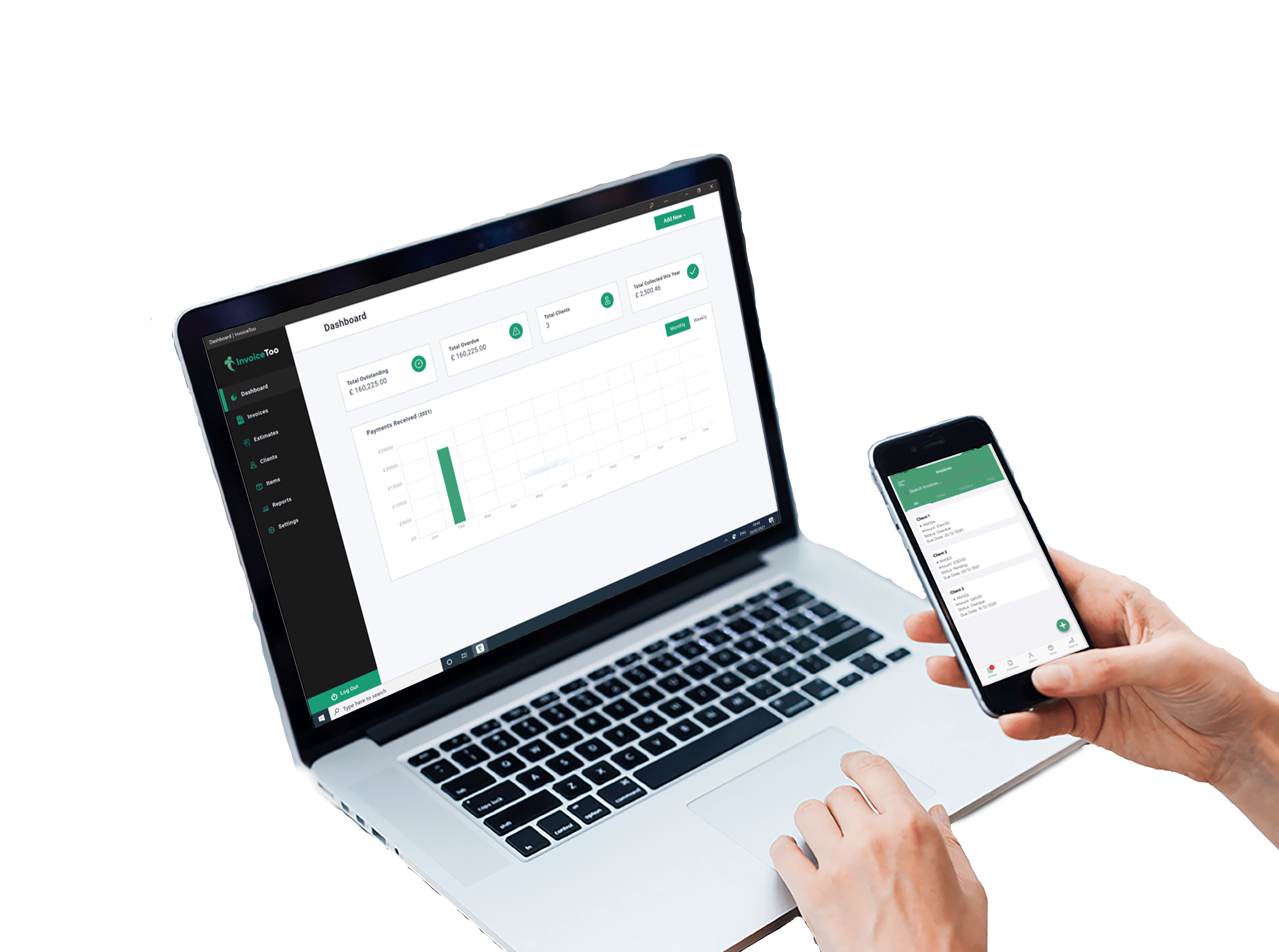 invoicetoo pc and mobile dashboard